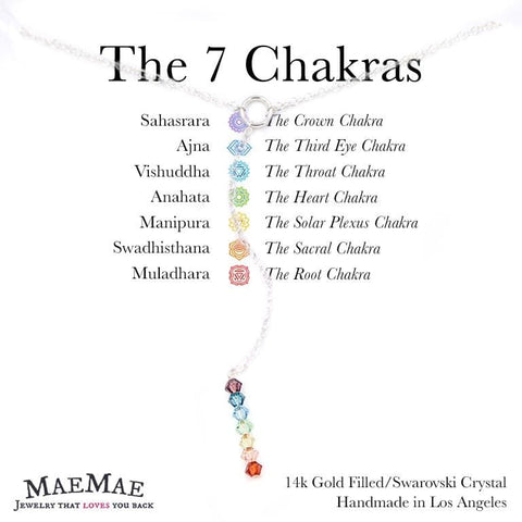 multi color swarovski crystals Lariat necklace with 7 chakra card - MaeMae Jewelry