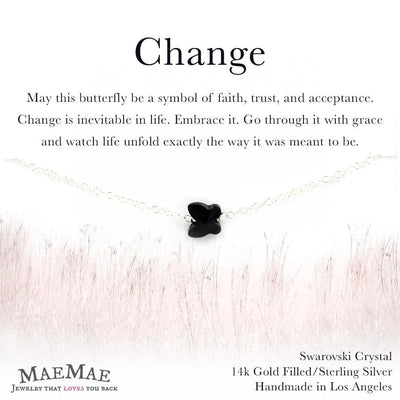 Black Swarovski Crystal Butterfly Pendant on sterling silver filled dainty chain bracelet - MaeMae Jewelry
