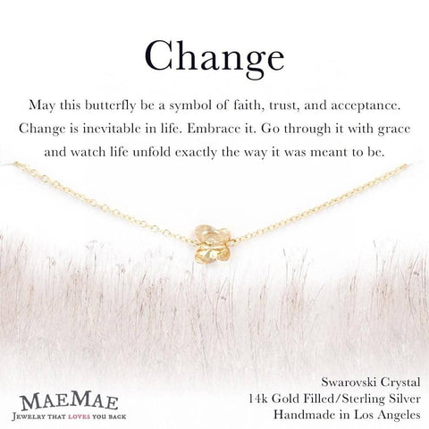 Swarovski Crystal Butterfly Pendant on delicate 14k gold filled chain bracelet on illustrated card - MaeMae Jewelry