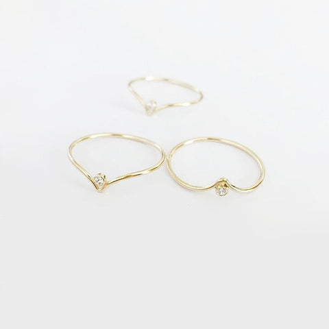 Chevron CZ Solitaire Stacking Ring
