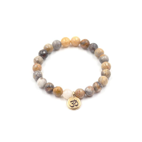 Crazy Lace Agate Stretch Stone Bracelet with Gold Pewter Om Pendant