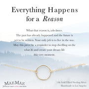 14k gold filled open circle bracelet on positive affirmation card - MaeMae Jewelry