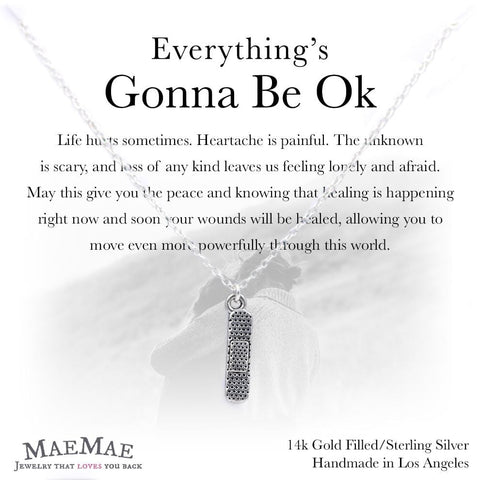 Gold plated pewter bandaid charm on sterling silver necklace on illustrated square card with positive affirmation - MaeMae Jewelry