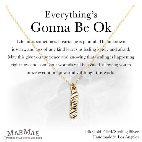 Gold plated pewter bandaid charm on 14k gold filled necklace on illustrated square card with positive affirmation - MaeMae Jewelry