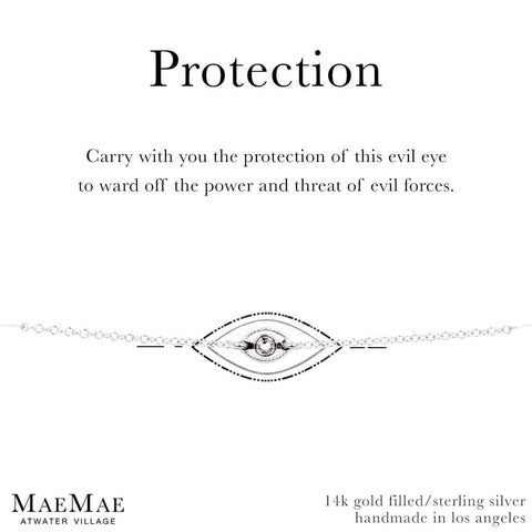 Sterling Silver protection evil eye clear swarovski 14k gold filled bracelet by MaeMae Jewelry