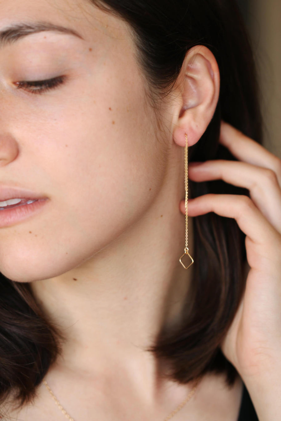 Geometric Ear Threaders | 14k gold filled square threader earrings