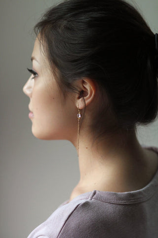 Round Clear Swarovski Crystal Earrings Fish Hook Gold Filled with Chain Fringe Dangly On Model