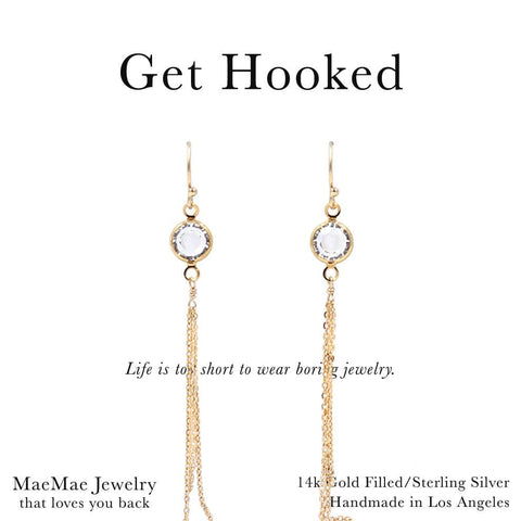 14k gold filled fish hook earrings with round clear swarovski crystals with chain drop on card - MaeMae Jewelry