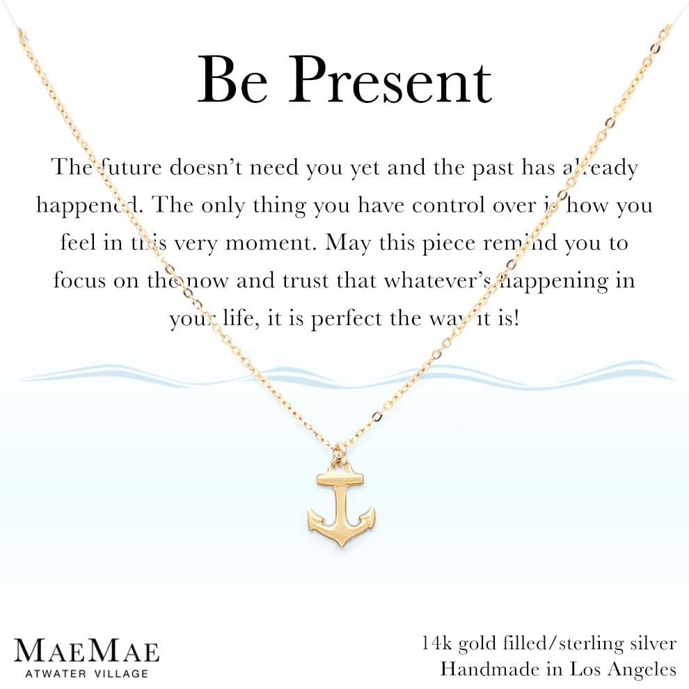Be Present affirmation carded jewelry with meaning 14k gold filled solid on card