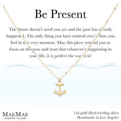 14k gold filled necklace with dainty gold anchor charm on an illustrated card - MaeMae Jewelry