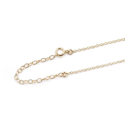 Close up of MaeMae 14k Gold Necklace Chain Extender and Clasp.