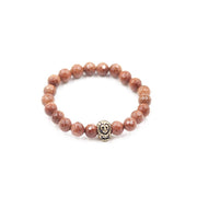 Goldstone Stretch Bracelet with Pewter Gold Lion Charm
