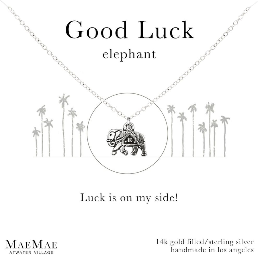 14K Gold Filled elephant charm necklace on affirmation card- MaeMae Jewelry