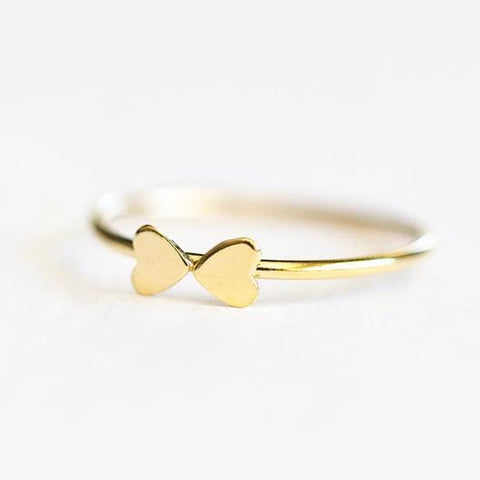 Tiny Heart Bow Stacking Ring