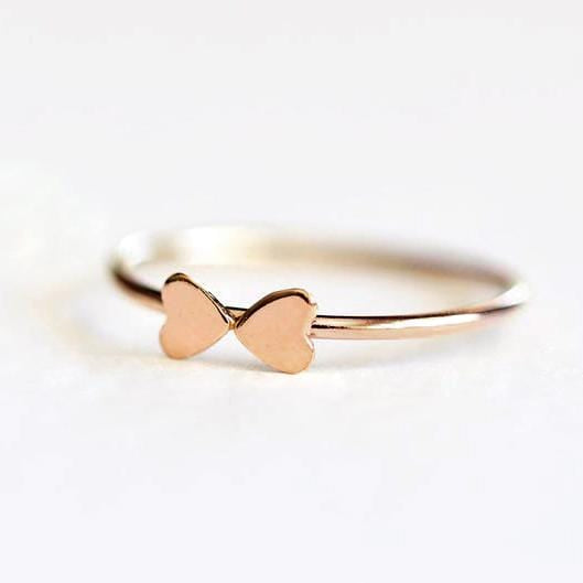 Tiny Heart Bow Ring