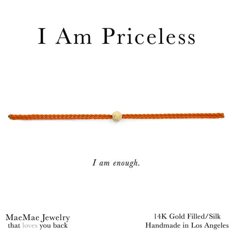 Priceless Bracelet | fall colors orange 14k gold filled nylon silk cord bracelets by MaeMae Jewelry