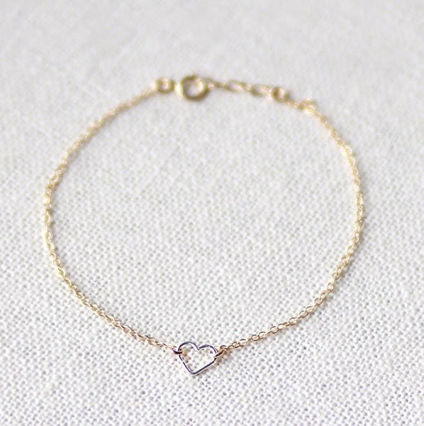Sterling Silver Open Heart on 14k Gold filled bracelet - MaeMae Jewelry