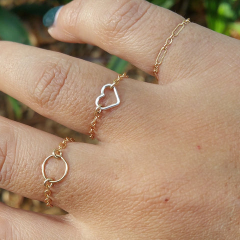 I Heart You - Mixed Metal Chain Ring