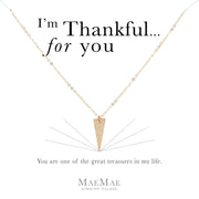 14k gold filled textured point charm on 14k gold filled flat cable chain necklace on illustrated affirmation card - MaeMae Jewelry