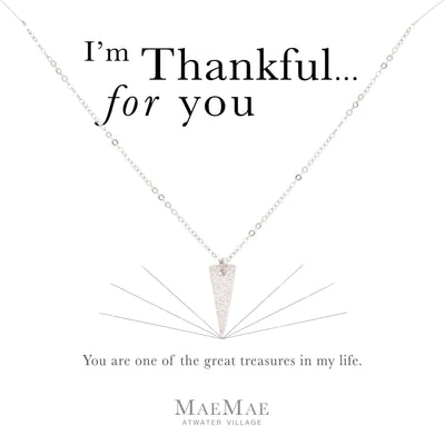 Sterling silver textured point charm on sterling silver flat cable chain necklace on illustrated affirmation card - MaeMae Jewelry