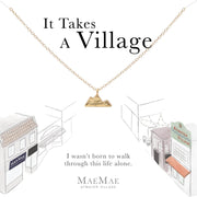Vermeil mountain charm on 14k gold filled cable chain necklace on illustrated card - MaeMae Jewelry