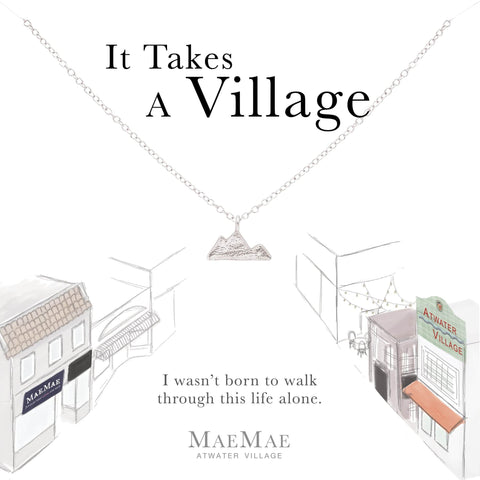 Sterling silver mountain charm on sterling cable chain necklace on illustrated card - MaeMae Jewelry