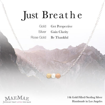 Sterling Silver Necklace | Just Breathe Necklace Carded Affirmation Jewelry triple tone bracelet