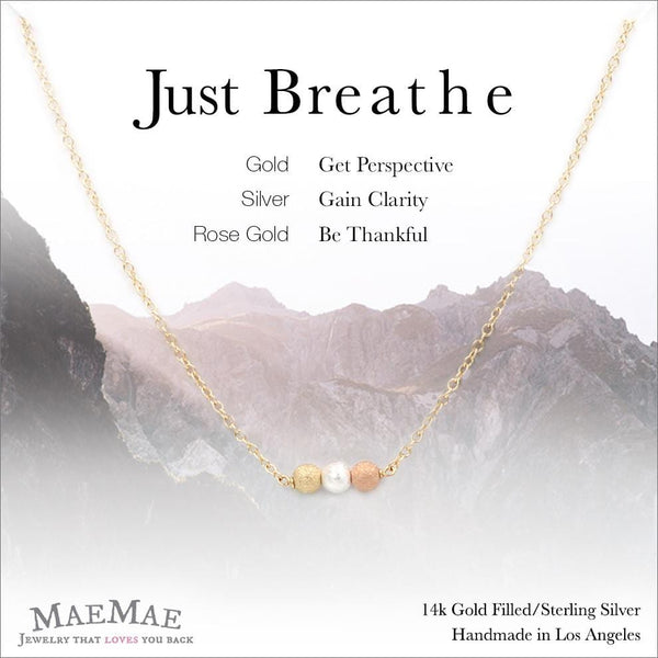 14k gold filled stardust bead trio necklace on positive affirmation card - MaeMae Jewelry