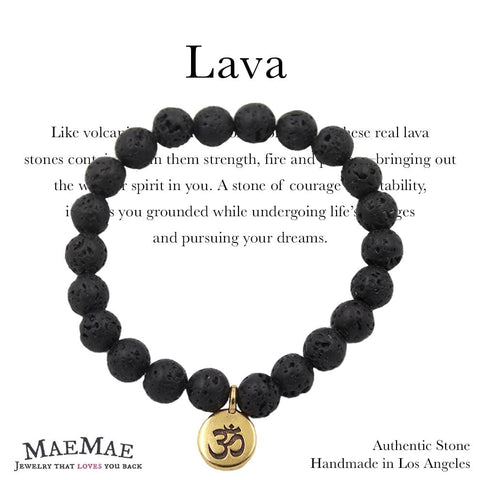 Stretchy Lava Stone Bracelet with Gold Pewter Om Charm on informational card