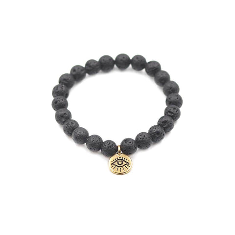 Stretchy Lava Stone Bracelet with Gold Pewter Evil Eye Charm