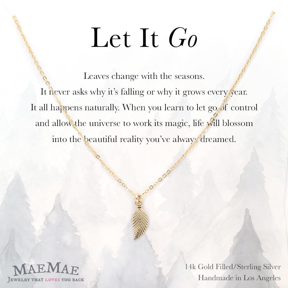 14k gold filled leaf charm necklace on positive affirmation card - MaeMae Jewelry