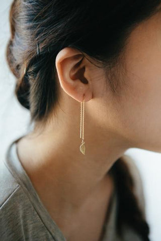 Leaf Threader Earrings