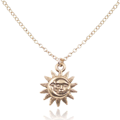 Detailed view of 14k Gold Filled Light After Dark Necklace with Gold Sun Moon Charm.