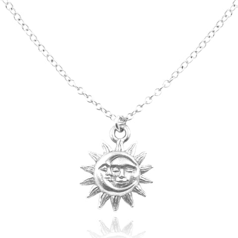 Detailed view of Sterling SIlver Light After Dark Necklace with silver Sun Moon Charm.