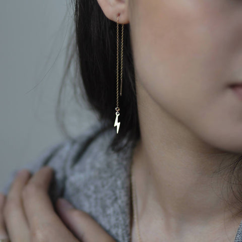 Lightning Bolt Threader Earrings