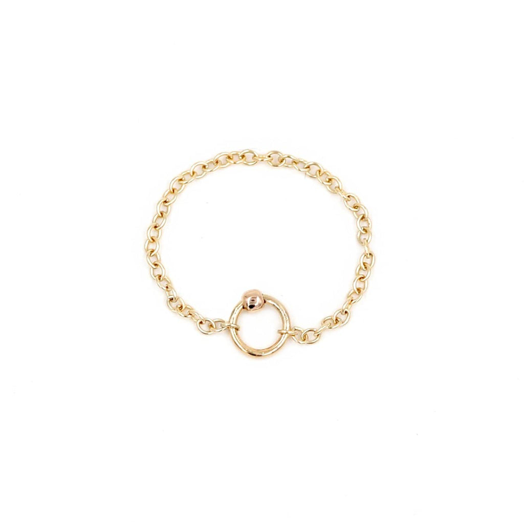 Close up photo of 14k gold filled chain ring with small ring and rose gold ball
