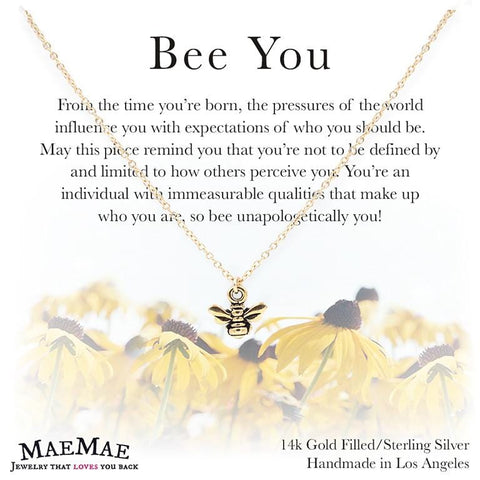 small gold bee charm necklace on positive affirmation card with illustrated sunflowers - MaeMae Jewelry