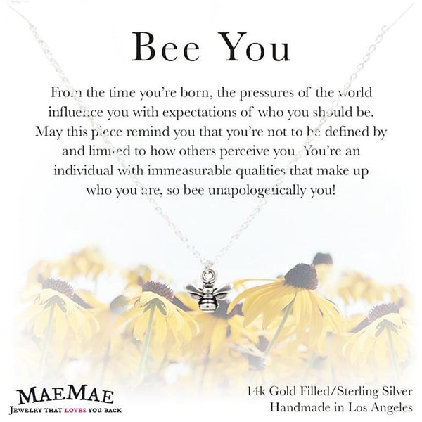 Cute and dainty sterling silver necklace with bee charm on a square card with sunflower illustrations and a positive message- MaeMae Jewelry