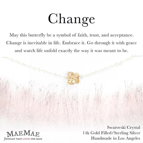 Swarovski Crystal Butterfly Pendant on delicate sterling silver chain bracelet on illustrated card - MaeMae Jewelry