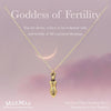 14k gold filled goddess charm necklace on positive fertility affirmation card - MaeMae Jewelry