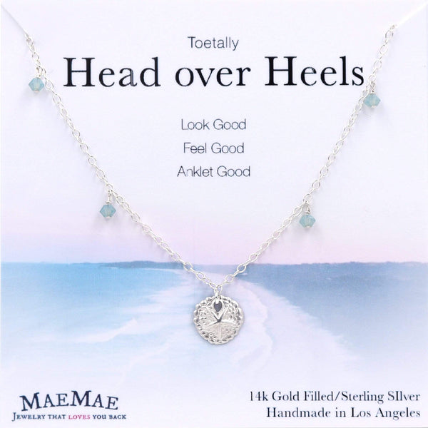 Sterling Silver sand dollar charm with seafoam swarovski crystals in 14K gold filled chain with positive affirmation card - MaeMae Jewelry