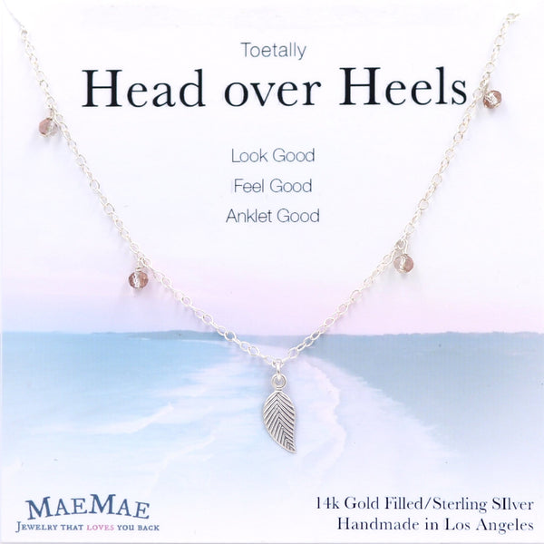Sterling Silver leaf charm with swarovski crystals in 14K gold filled chain with positive affirmation card - MaeMae Jewelry