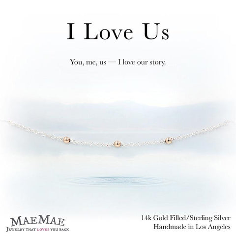 three 14K gold filled rose gold beads in sterling silver chain bracelet on positive relationship card - MaeMae Jewelry
