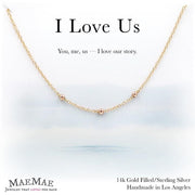 three 14k gold filled rose gold beads in 14k gold filled chain necklace on positive relationship card - MaeMae Jewelry