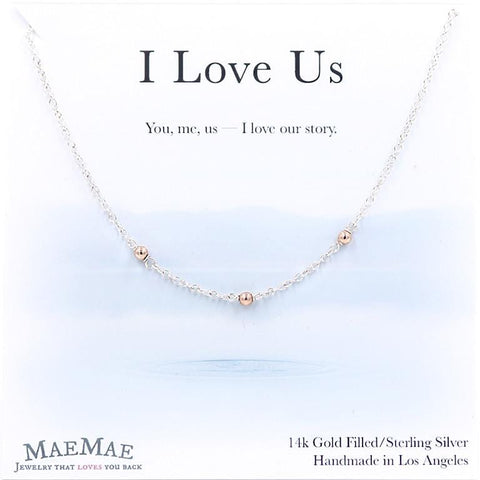 three 14k gold filled rose gold beads on sterling silver chain necklace on positive relationship card - MaeMae Jewelry