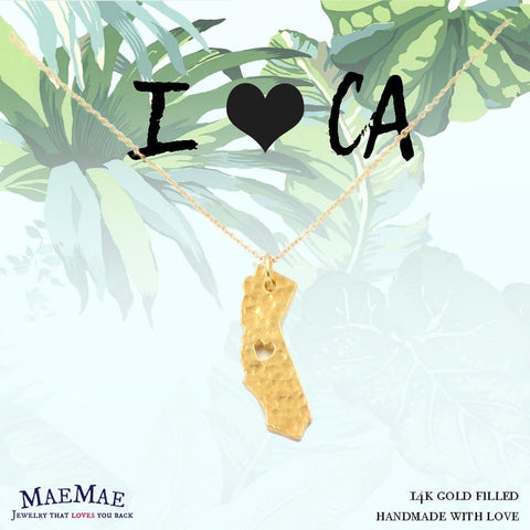14k gold filled necklace with hammered California State pendant on illustrated card - MaeMae Jewelry