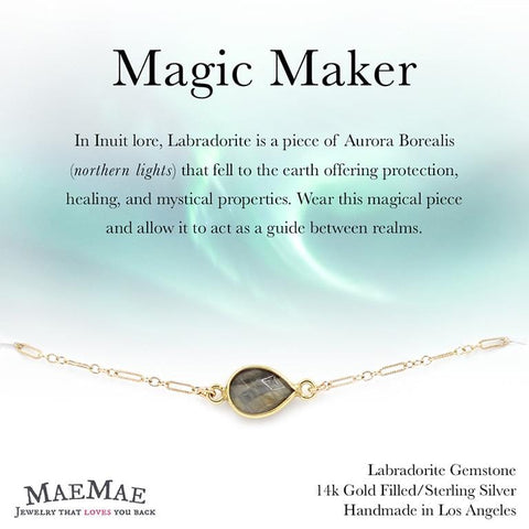 Labradorite gemstone pendant in 14k gold filled chain bracelet with positive affirmation card - MaeMae Jewelry