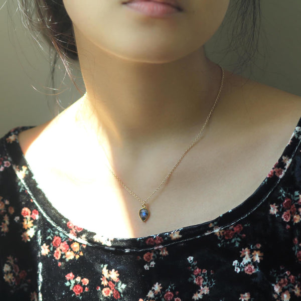 Lifestyle model wearing 14k Gold Filled Labradorite Pendant necklace Magic Maker - MaeMae Jewelry