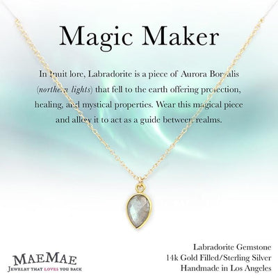 14k Gold Filled Labradorite Pendant necklace on Magic Maker affirmation card - MaeMae Jewelry