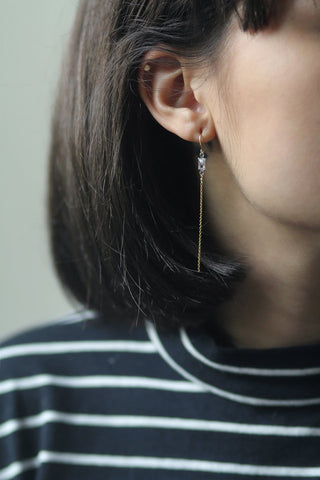Baguette Rectangle Clear Swarovski Crystal Earrings Fish Hook Gold Filled with Chain Drop Dangly On Model MaeMae